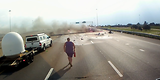 Biloxi, Mississippi I-10 Car Crashes Into Semi, Explosion