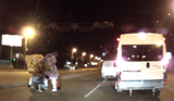 Russian driver attacked by mascots in bizarre road rage attack