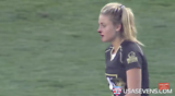 Rugby Sevens player Georgia Page breaks nose, proceeds to make two more crunching tackles
