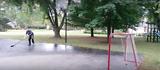 Kid achieves Toews waterbottle trick shot