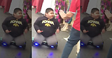 FAT KID RIDES SELF BALANCING HOVERBOARD SCOOTER with KNEES